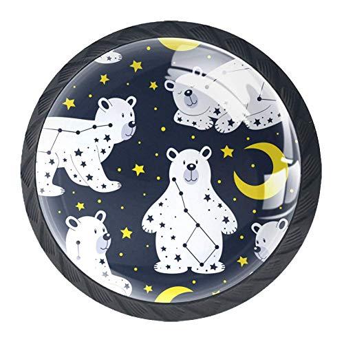 Schubladenknöpfe Ziehgriff Schrankknöpfe mit Schrauben für Home Office Schrank Schrank (4 Stück) weißer Bär und Sternbild Ursa Major, mehrfarbig