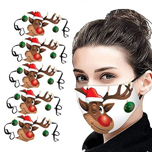 NN/A 5 Stücke Mundschutz Weihnachten mit Elch Motive Unisex Wunderschönen Mundschutz Waschbar Wiederverwendbar Mund und Nasenschutz Multifunktionaler Männer und Frauen