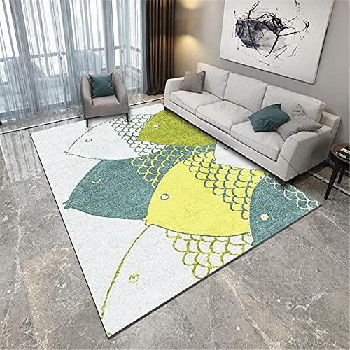 La alfombras Alfombra salón Alfombra de Sala de Estar de patrón de pez Lindo Doodle Azul Verde Amarillo Alfombra habitacion Juvenil 100*200cm