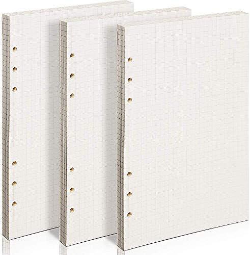 Packung Kariertes Papier -WENTS (insgesamt 200 Blätter) 6 Löcher Nachfüllpapier A5 für Filofax A5, Notizen, DIY, Bullet Journal, Skizze, Malerei, 8,26 x 5,59 Zoll