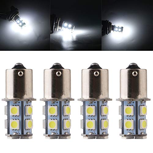 Qasim 10x LED 24V 1156 BA15S P21W 1141 Bombillas Coche Universal para Luz de Respaldo Señal de Giro Indicador de Luces de Estacionamiento 5050 13SMD 156LM Blanco