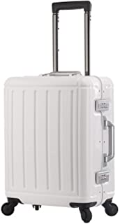 "Trolley case 100% Aluminum-Magnesium Alloy Material TAS Lock Spinner Business Trolley Luggage Suitcase (Color : Ivory, Size : 20"")"