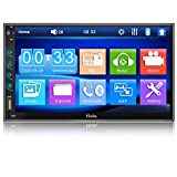 Hieha Double Din Car Stereo with Bluetooth, 7 inch Touch Screen Car Radio FM Receiver Support USB/SD/AUX Input, MP5 Multimedia Player with Phone Mirror Link, Rear View Camera, Steering Wheel Controls