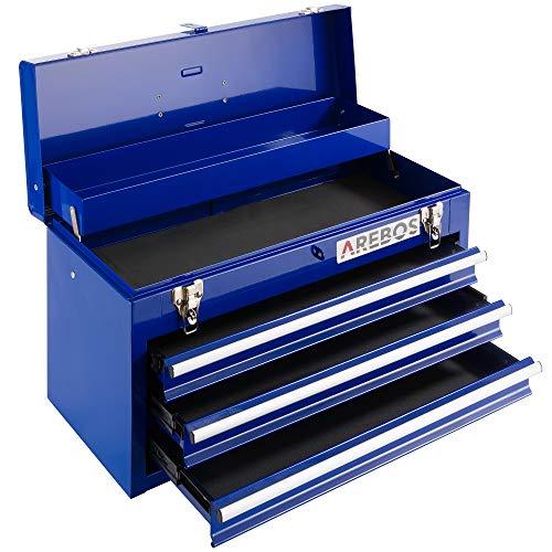 Arebos Werkzeugkoffer mit 3 Schubladen & 2 Ablagefächern | inkl. Tragegriff & Schnappverschlüssen | Einrastfunktion | Antirutschmatten | Blau