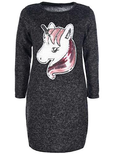 KMISSO Mädchen Pullover Tunika Kleid Einhorn-Motiv Pailletten Langarm Kleider 30222 Rosa 146