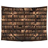 Wowzone Vintage Wooden Library Tapestry Study Room Scene Tapestry Full of Old Books Tapestry Classic Bookshelf Tapestry Wall Hanging Tapestry Art Decor Fabric Home Dorm for Living Room 51x59 Inch