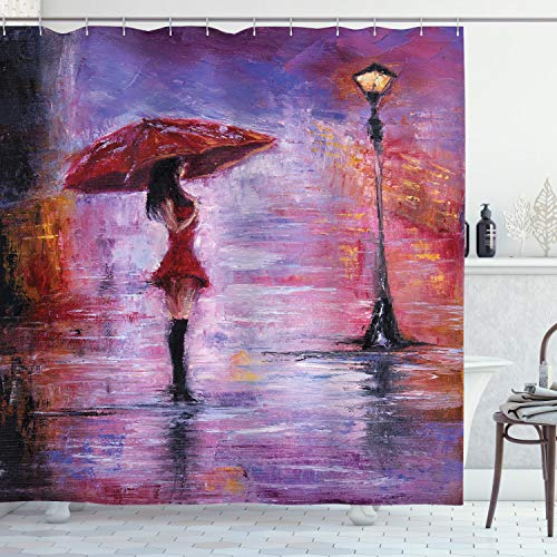Ambesonne Urban Shower Curtain, Oil Painting Style View Young Woman with Umbrella on Street Rainy Night, Cloth Fabric Bathroom Decor Set with Hooks, 75' Long, Lavender Coral