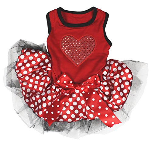Petitebella Red Sequins Heart Puppy Dog Dress (Red/Polka Dots, Small)