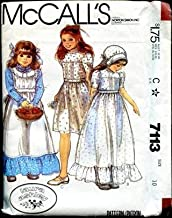 VINTAGE UNCUT & OOP McCALL'S 7113 LAURA ASHLEY GIRLS DRESSES APRON TIE BELT & BONNETT SEWING PATTERN SIZE 6