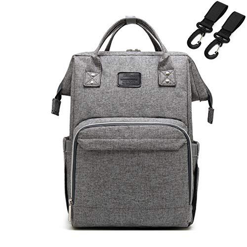 WSZOK Mochila para pañales, impermeable, de gran capacidad, bolsa de viaje para bebé, puerto USB, correas aisladas y 3 bolsillos para calentar botellas (gris)