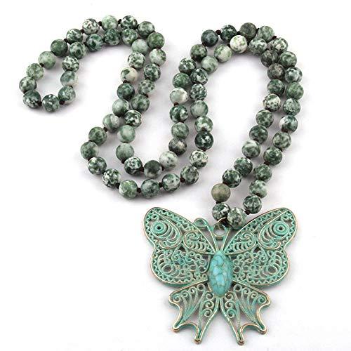 ZAOPP Fashion Bohemian Jewelry Beads De Piedra Amazonita Punto de Mariposa Anudada Pendiente Colgante for Mujeres Étnic Necklace Accesorios (Length : 130CM, Main Stone Color : Blue)