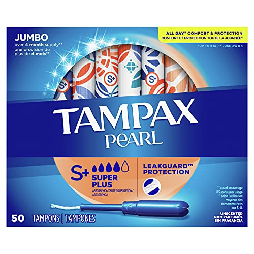 Tampax Pearl Tampons Super Plus Absorbency with BPA-Free Plastic Applicator and LeakGuard Braid, Unscented, 50 Count