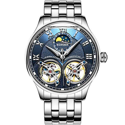 FAPROL-BINGER Montre, Montre-Bracelet pour Homme D'âge Mûr, Affichage De La Phase De Lune Caractéristiques, Cadran De Mode Volant Creux