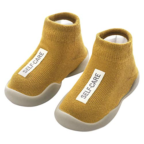 ANIMQUE Kinder Anti Rutsch Socken Schuhe Babyschuhe rutschfeste Sohle Lauflernschuhe Krabbelschuhe Weich Bequem 22/23 EU, Ingwer (MB)