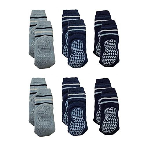 Tiger's Milk 6 Paar Baby Socken Jungen Mädchen Babysocken rutschfest, warme Söckchen, Vollplüsch, gefüttert, ABS anti-rutsch Socken Baby, blau, 80-92
