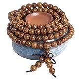 Collana mala 108, 6 mm, da preghiera, da donna, in legno naturale, tibetana, buddhista, per meditazione, collana con perline, uomo e donna e NA, colore: 227-1#, cod. MP-wood-227-01