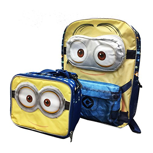 2015 New Despicable Me Minions 3d Eyes Limitied 16 Inches Backpack with Matching Lunch Bag