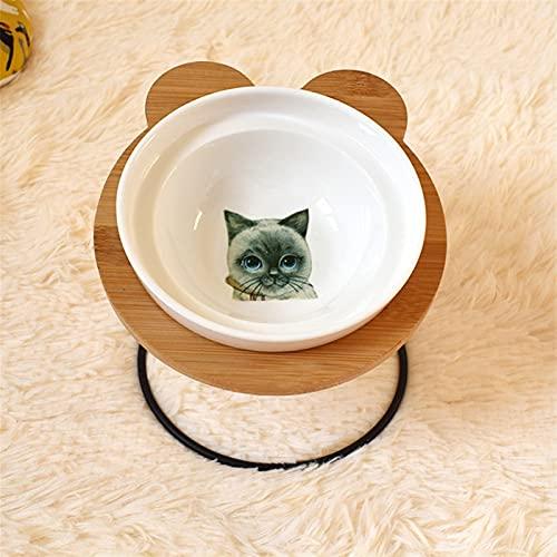 RVAXQ Tazón de Mascotas Varios Patrones de Dibujos Animados Estante de Acero Inoxidable Cuenco de cerámica Alimentación y Cuencos para Beber (Color : 5, Size : Single)