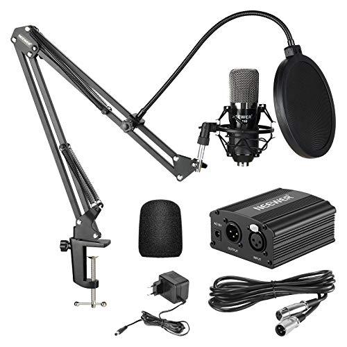 Neewer NW-700 Micrófono de Condensador Kit, Micrófono Negro, Fuente de Alimentación Negra de 48V Phantom, Soporte de...