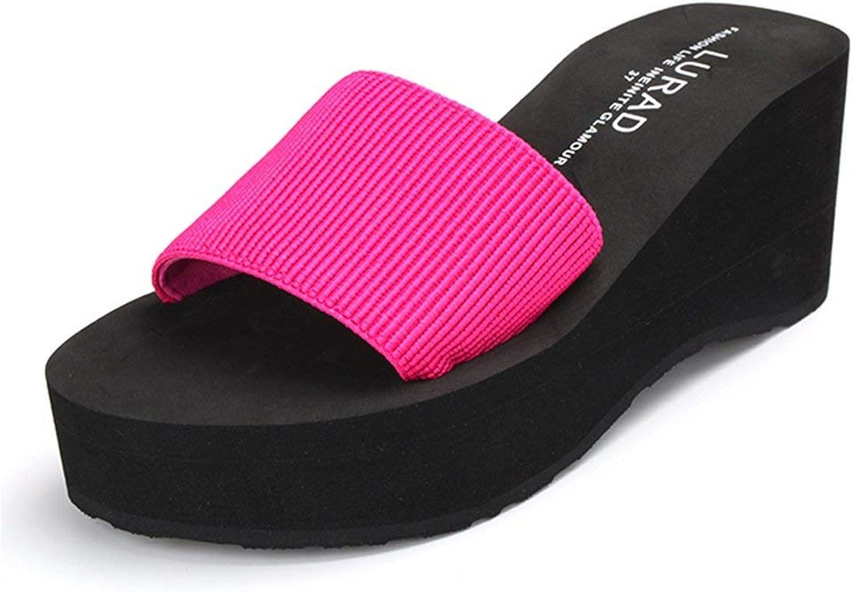Ghssheh Women's Contrast color Elastic Beach Pool Antiskid Slide Sandals bluee 6.5 M US