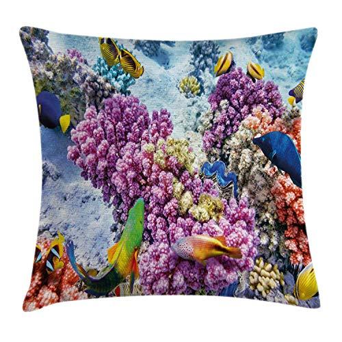 Pez Fundas de Cojines Funda Cojin Vista Surrealista de la Vida Marina con Colonia sumergida de corales de Pilar Fauna acuática Estampado decorativoFunda de Almohada 18 'X 18' Coral Purple