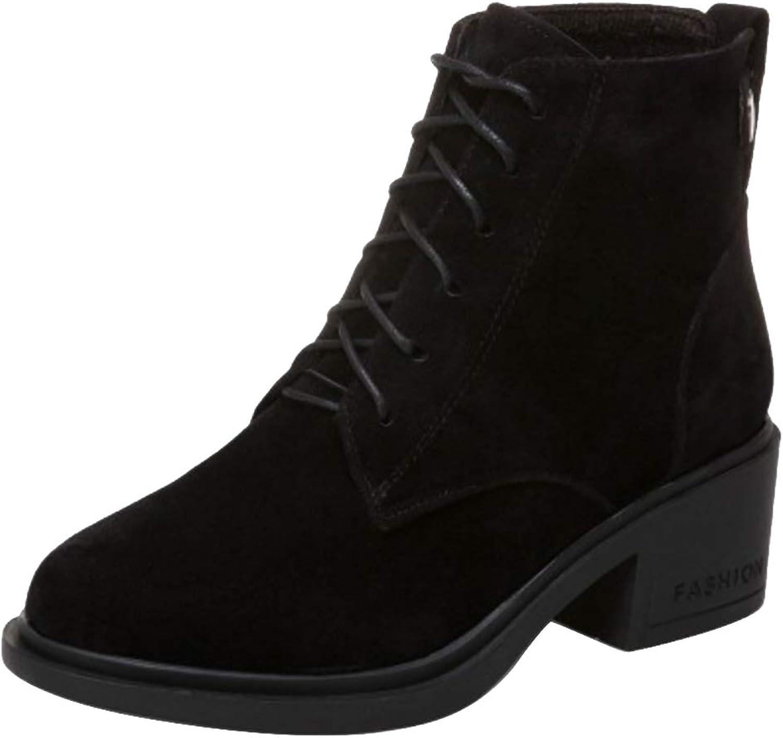 TAOFFEN Women Fashion Mid Heel Short Boots