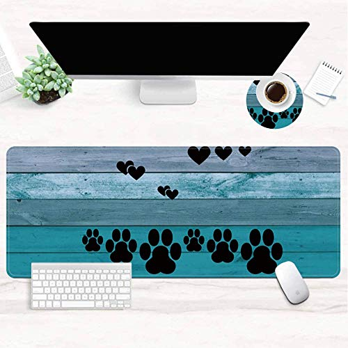 Extended (31.5x11.8 Inch) XXL Gaming Mouse Pad, Large Full Desk Mouse Pad with Stitched Edges, Cute Decor Keyboard Pad Desk Mat for Desktop, Big Mouse Pad Gaming Ofiice Home School - Dog Paw