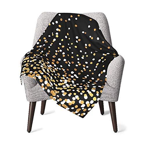 Manta de franela de forro polar suave y cálido puntos flotantes blanco y dorado sobre negro Kids Toddler Boy Cochecito cama manta felpa 40 x 30 pulgadas