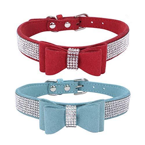 Collare per Gatto con Campana e Papillon INTVN 2 PCS Collare per Cani di Piccola Taglia Staccabile per Cani di Taglia Piccola 25*1.5CM