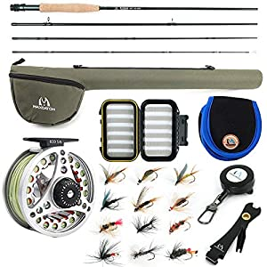 """M MAXIMUMCATCH Maxcatch Extreme Fly Fishing Combo Kit 3/5/6/8 Weight, Starter Fly Rod and Reel Outfit, with a Protective Travel Case (5wt 9'0"""" 4pc Rod,5/6 Reel)"""