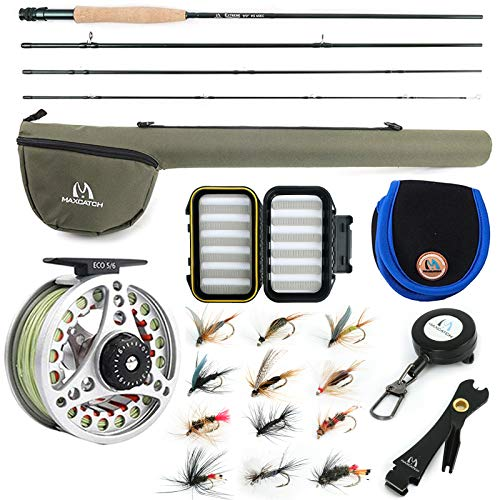 """M MAXIMUMCATCH Maxcatch Extreme Fishing Combo Kit 3/5/6/8 Weight, Starter Rod and Reel Outfit, with a Protective Travel Case (5wt 9'0"""" 4pc Rod,5/6 Reel)"""