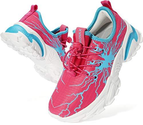BRONAX Sportschuhe Mädchen Hallenschuhe Turnschuhe Atmungsaktiv Laufschuhe Kinder Tennisschuhe Schuhe für Kinderschuhe Mesh Tennisschuhe Pink 35 EU(36 Asien)