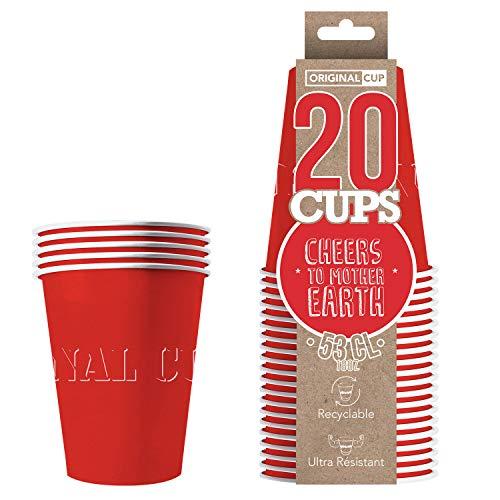 Pack de x20 Original Red Cups Officiels | Gobelets Américains 53cl Rouges en Carton | Beer Pong Qualité Premium | Verres Recyclables Ultra Résistants | Jeu à Boire | House Party | OriginalCup®