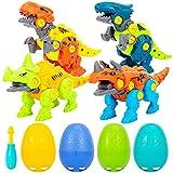 FunsLane Uova di Pasqua con Giocattoli di Dinosauro smontabili, Set di Costruzioni Fai-da-Te Giocattoli STEM di Dinosauro Regalo per Ragazze Ragazzi