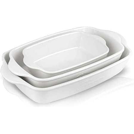Joyroom Bakeware Set, Ceramic Baking Dish, Rectangular Baking Pans for Cooking, Cake Dinner, Kitchen, 9 x 13 Inches, Letter Collection Set of 3 (White)