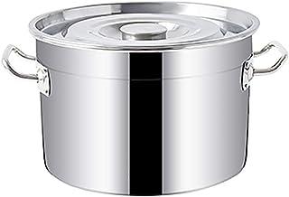 WQF Cacerolas de Acero Inoxidable -50 cm, Cacerola Grande Profunda de Acero Inoxidable para cocinar, Base de inducción con Tapa de Acero Inoxidable