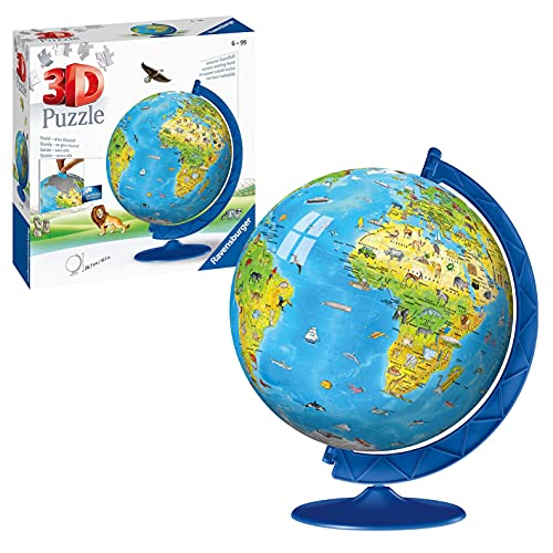 Ravensburger Children's World Globe 3D Jigsaw Puzzle for Kids age 6 Years Up - 180 Pieces