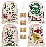 KEFAN Confezione da 4 Sacchetti di Natale Sacco di Babbo Natale Sacchetto di Tela per Regali Sacco di Babbo Natale con Coulisse di Grandi Dimensioni 70x50 cm (Modello 13)