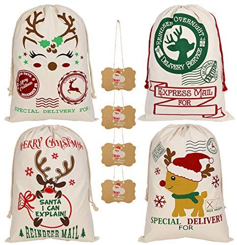 KEFAN Paquete de 4 Bolsas de Navidad Saco de Papá Noel Bolsa de Lona para Regalos Saco de Papá Noel con Cordones Tamaño Grande 70x50cm (Patrón 13)