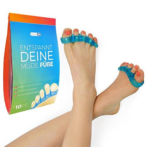 relaxGO Zehenspreizer & Zehentrenner, Yoga für Füße, Set, Trenner für Hallux, Vorbeugung von Schmerzen und Entspannung, fünf Zehen, Ballenschutz, für Damen, Herren, Silikon Soft Gel