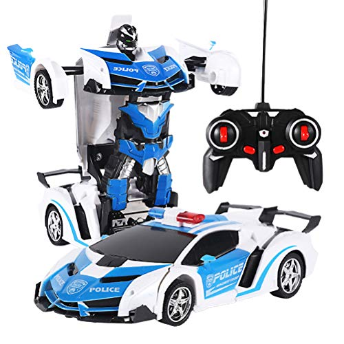 Transformator Roboter Auto, Ferngesteuertes Auto RC 2 in 1 RC-Auto fahren Sportwagen fahren Verformungsroboter Modell Handgesteuerter Auto Transformers Roboter für Kinder ab 6
