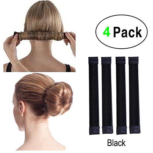 Lot de 4 accessoires de cheveux pour faire des chignon faciles, des queues de cheval, Parfaits pour l'école, la vie quotidienne, le yoga, la danse, pour un anniversaire ou un mariage