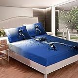 Loussiesd Juego de sábanas con estampado de béisbol para niños, adolescentes, juegos de béisbol, juego de cama atleta competitivo azul cama decoración dormitorio 3 piezas tamaño doble