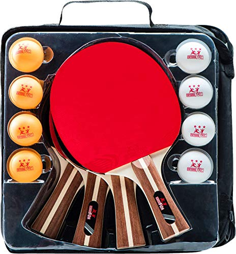 Ping Pong Paddle Set - 4 Wood Ping Pong Paddles - Ergonomic Grip - 8 Tournament Table Tennis Balls - Paddle Case - Professional/Casual Play - Portable Table Tennis Set .- Family Table Games