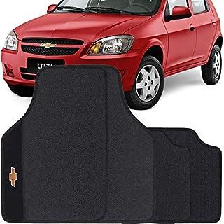 Jogo de Tapete Borracha Pvc Universal Chevrolet Celta 2003 a 2015 Preto Bordado Carpete Antiderrapante Impermeável