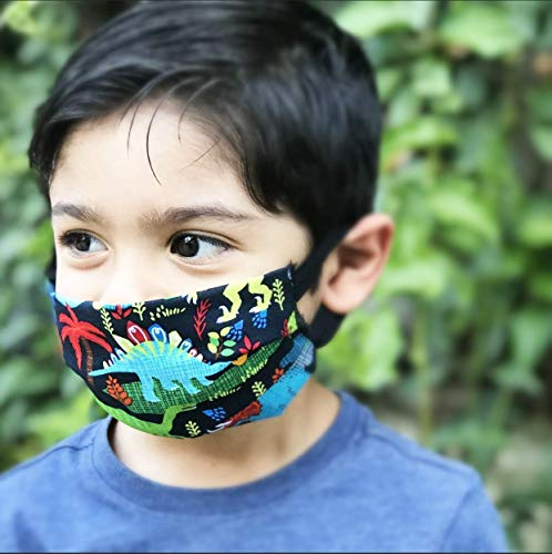 Dinosaur T Rex Face Mask for kids and toddlers with filter pocket made of Washable Reusable 100% Cotton Fabric, optional adjustable ear straps, Made in USA Free Shipping