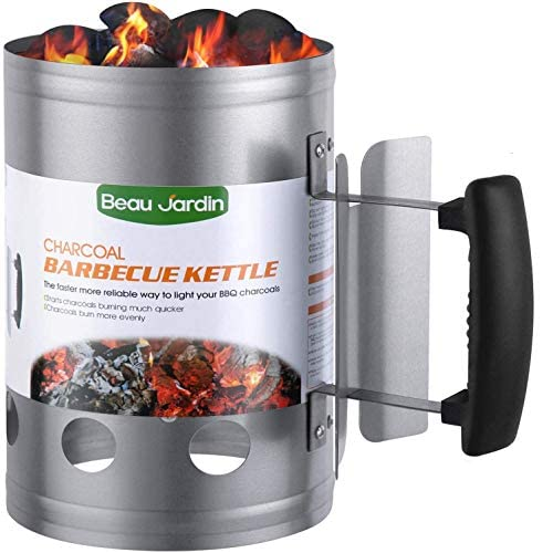 BEAU JARDIN Charcoal Chimney Starter Grill Can Barbecue BBQ Galvanized Steel Chimney Lighter Basket Outdoor Cooking…