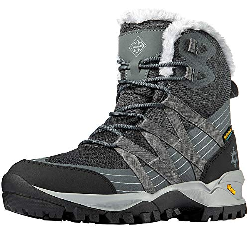 Wantdo Women's Waterproof Ankle Hiking Boots Lightweight Snow Boots for Winter Snow Hiking Camping 8.5 M US Grey