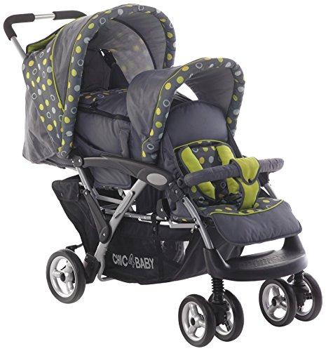 CHIC 4 BABY Geschwisterwagen Duo inkl. Babytragetasche und Regenhaube, grau
