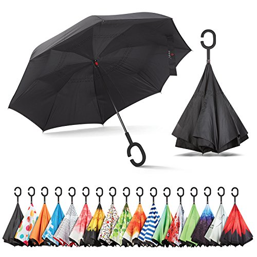 Sharpty Inverted, Windproof, Reverse Umbrella for Women with UV Protection, Upside Down with C-Shaped Handle